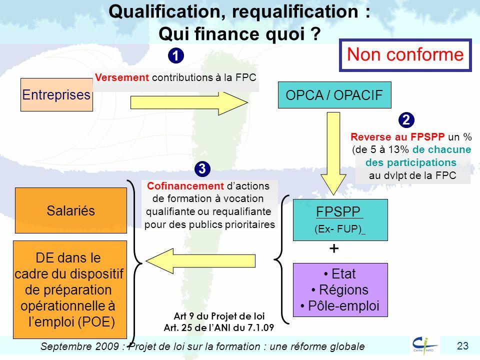 23 Septembre 2009 : Projet de loi sur la formation : une réforme globale Qualification, requalification : Qui finance quoi ? OPCA / OPACIF Entreprises