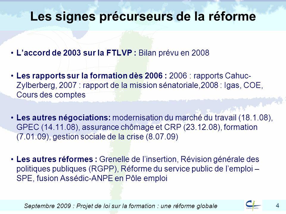 4 Septembre 2009 : Projet de loi sur la formation : une réforme globale Les signes précurseurs de la réforme Laccord de 2003 sur la FTLVP : Bilan prév