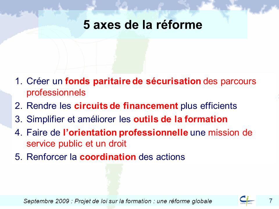 7 Septembre 2009 : Projet de loi sur la formation : une réforme globale 5 axes de la réforme 1.Créer un fonds paritaire de sécurisation des parcours p