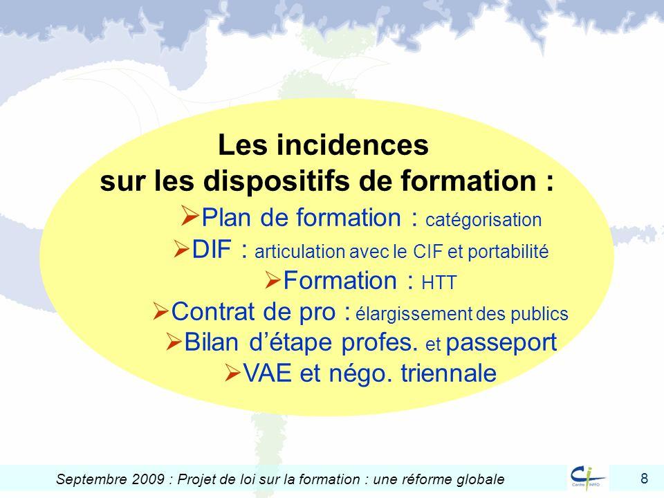 8 Septembre 2009 : Projet de loi sur la formation : une réforme globale Les incidences sur les dispositifs de formation : Plan de formation : catégori