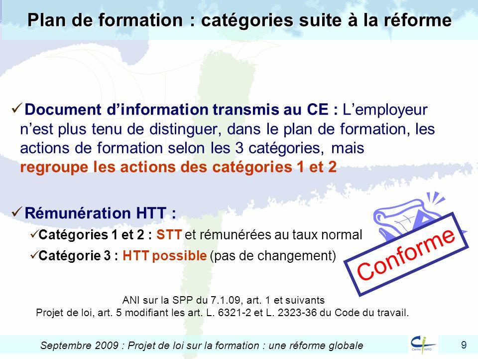 9 Septembre 2009 : Projet de loi sur la formation : une réforme globale Plan de formation : catégories suite à la réforme Document dinformation transm