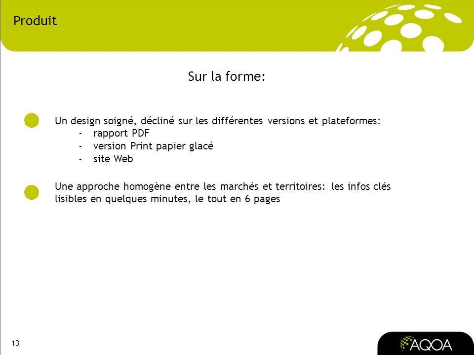 13 Produit Un design soigné, décliné sur les différentes versions et plateformes: -rapport PDF -version Print papier glacé -site Web Une approche homo