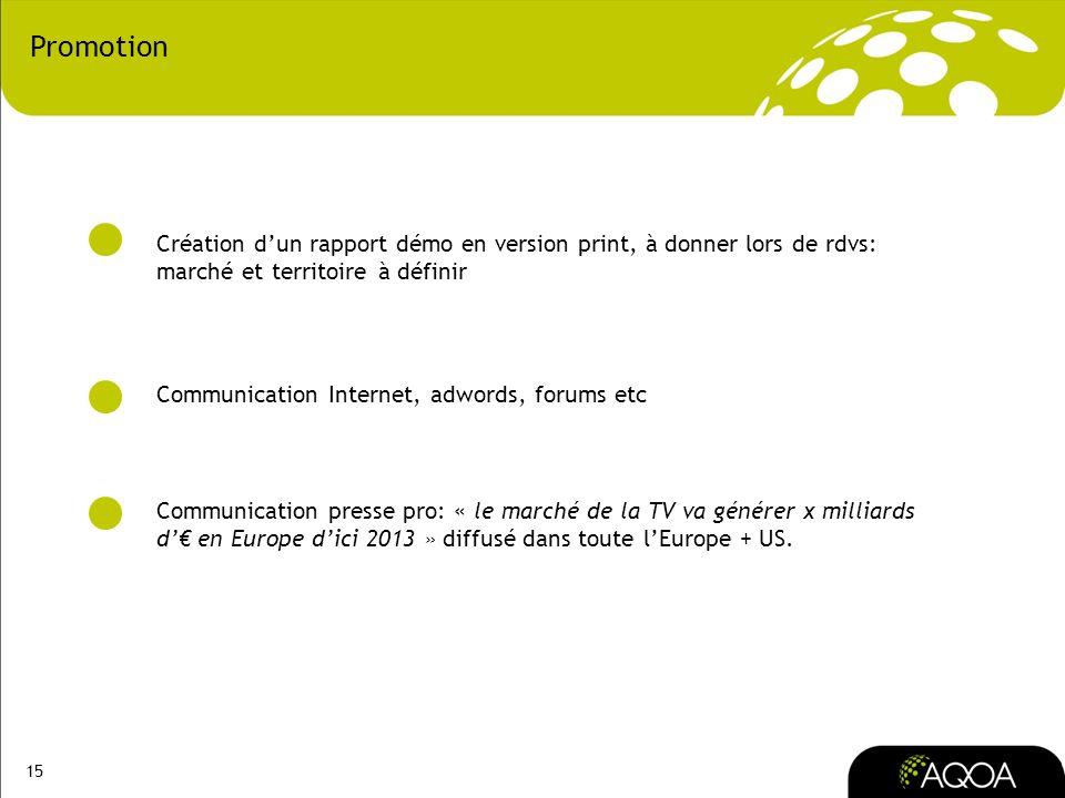 15 Promotion Création dun rapport démo en version print, à donner lors de rdvs: marché et territoire à définir Communication Internet, adwords, forums