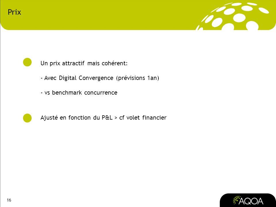 16 Prix Un prix attractif mais cohérent: - Avec Digital Convergence (prévisions 1an) - vs benchmark concurrence Ajusté en fonction du P&L > cf volet f