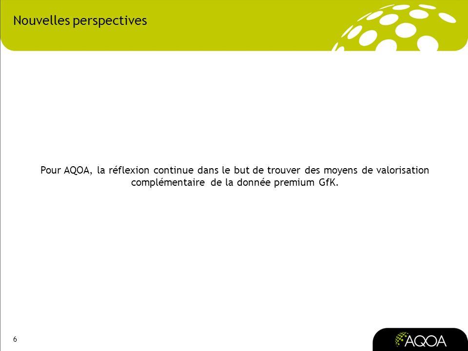 6 Nouvelles perspectives Pour AQOA, la réflexion continue dans le but de trouver des moyens de valorisation complémentaire de la donnée premium GfK.