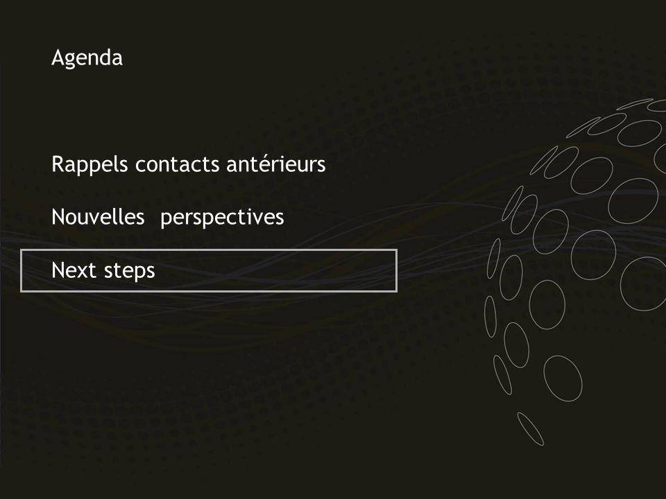 Agenda Rappels contacts antérieurs Nouvelles perspectives Next steps