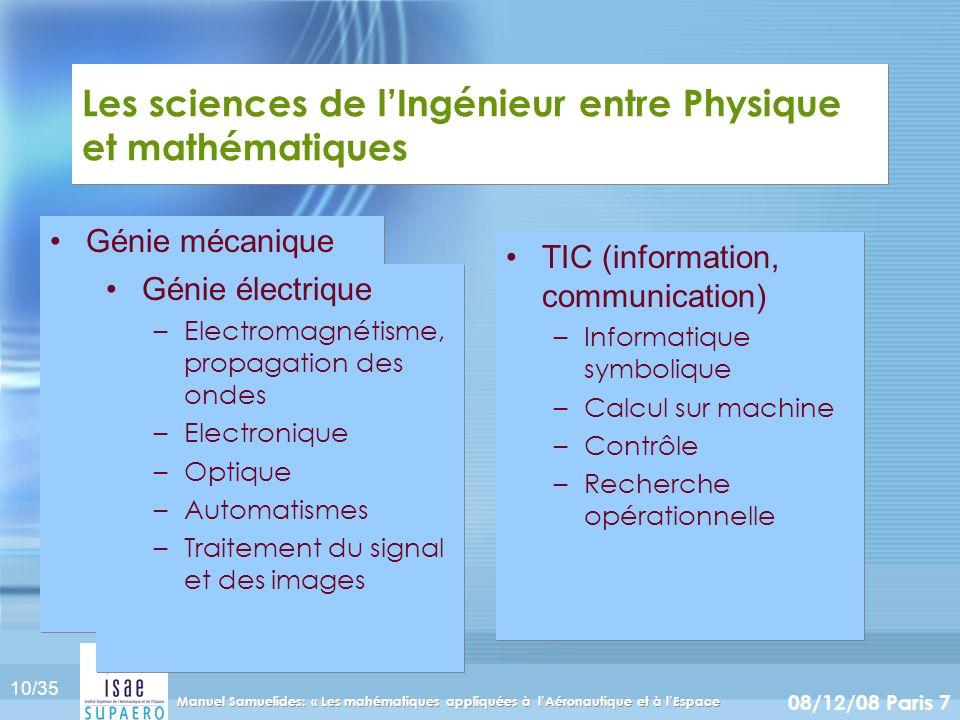 10/35 08/12/08 Paris 7 Manuel Samuelides: « Les mahématiques appliquées à lAéronautique et à lEspace Les sciences de lIngénieur entre Physique et math
