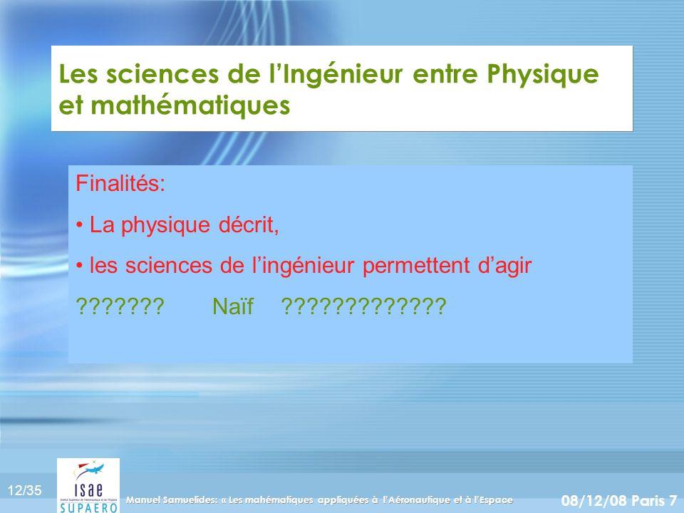 12/35 08/12/08 Paris 7 Manuel Samuelides: « Les mahématiques appliquées à lAéronautique et à lEspace Les sciences de lIngénieur entre Physique et math