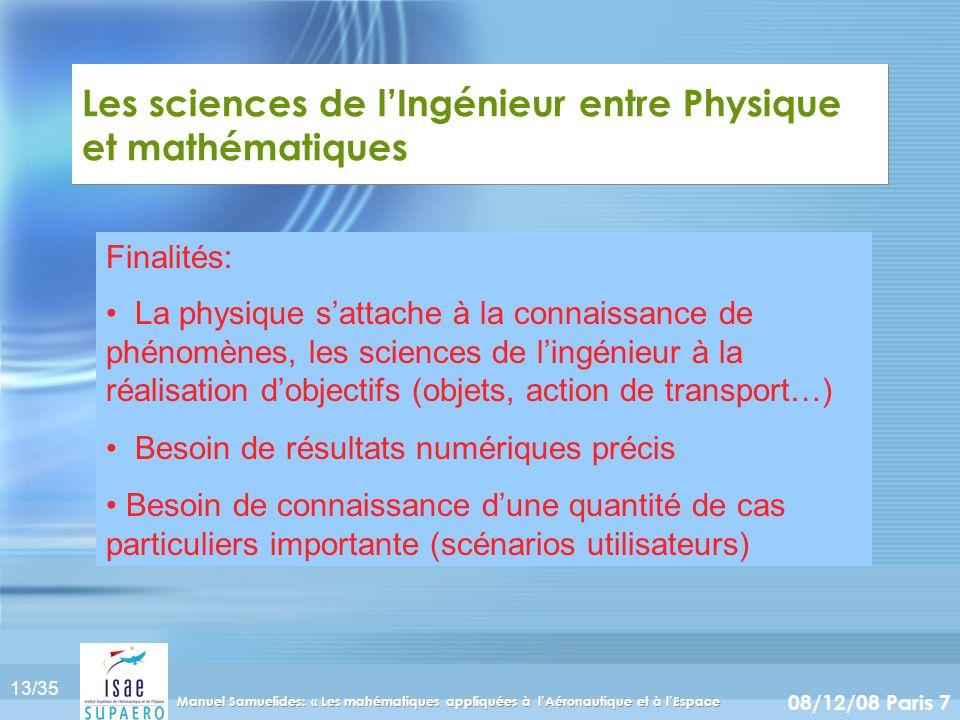 13/35 08/12/08 Paris 7 Manuel Samuelides: « Les mahématiques appliquées à lAéronautique et à lEspace Les sciences de lIngénieur entre Physique et math