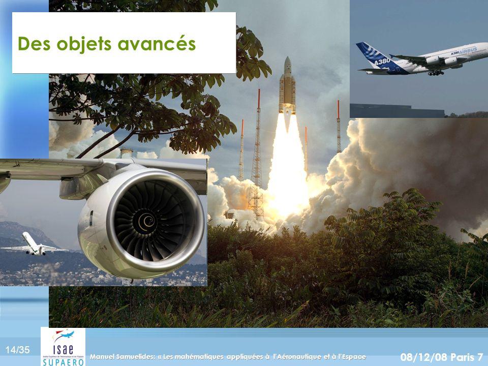 14/35 08/12/08 Paris 7 Manuel Samuelides: « Les mahématiques appliquées à lAéronautique et à lEspace Des objets avancés