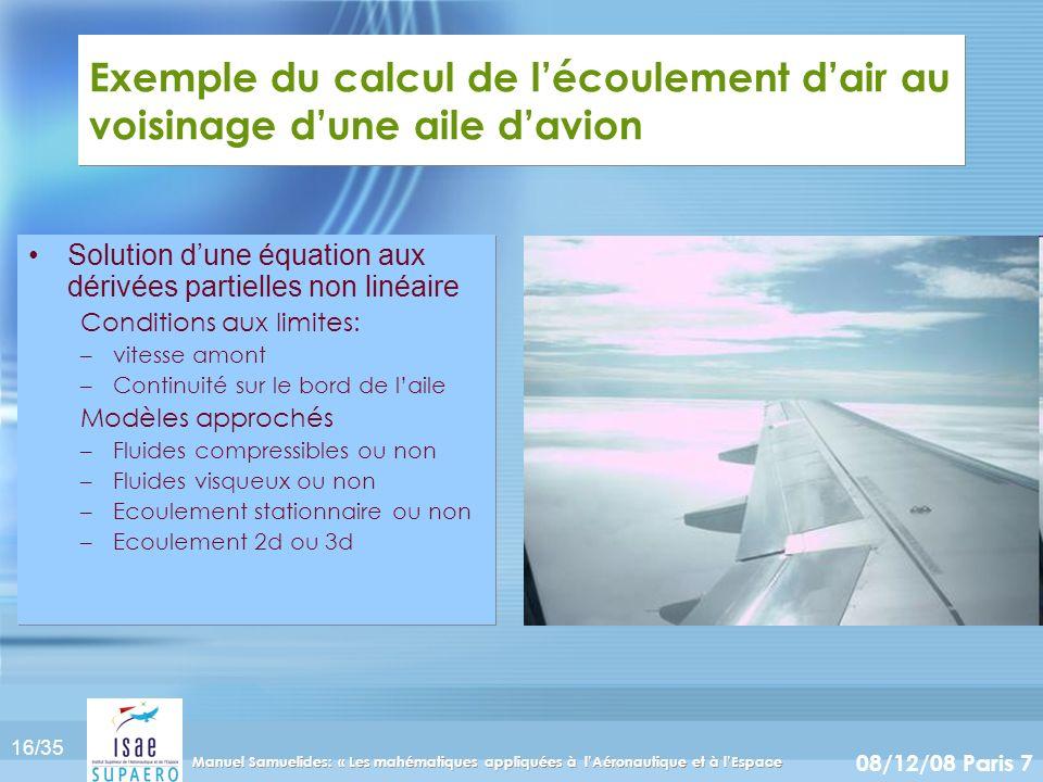 16/35 08/12/08 Paris 7 Manuel Samuelides: « Les mahématiques appliquées à lAéronautique et à lEspace Exemple du calcul de lécoulement dair au voisinag