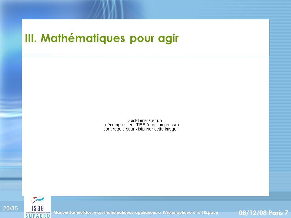 20/35 08/12/08 Paris 7 Manuel Samuelides: « Les mahématiques appliquées à lAéronautique et à lEspace III. Mathématiques pour agir