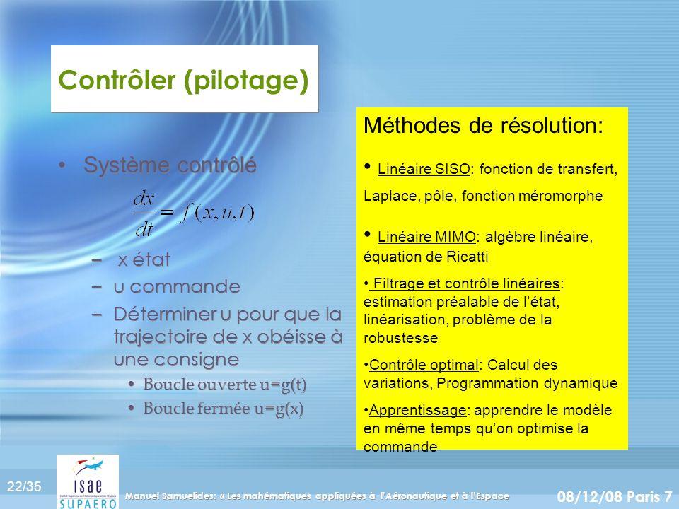 22/35 08/12/08 Paris 7 Manuel Samuelides: « Les mahématiques appliquées à lAéronautique et à lEspace Contrôler (pilotage) Système contrôlé – x état –u