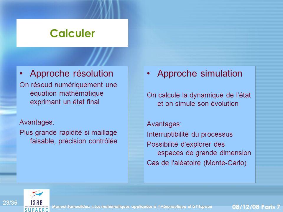 23/35 08/12/08 Paris 7 Manuel Samuelides: « Les mahématiques appliquées à lAéronautique et à lEspace Calculer Approche simulation On calcule la dynami