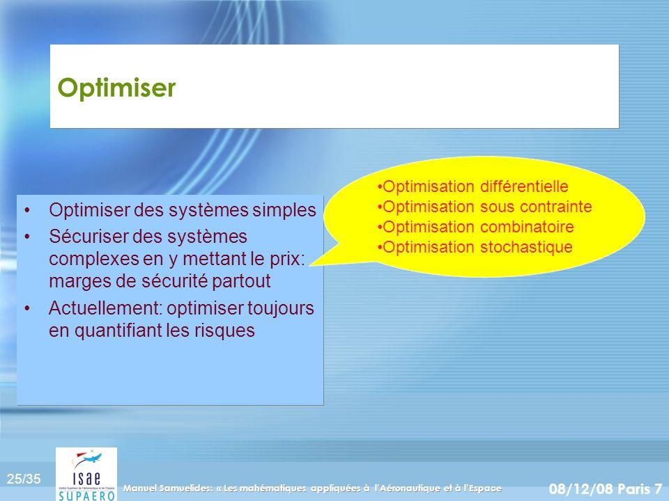 25/35 08/12/08 Paris 7 Manuel Samuelides: « Les mahématiques appliquées à lAéronautique et à lEspace Optimiser Optimiser des systèmes simples Sécurise