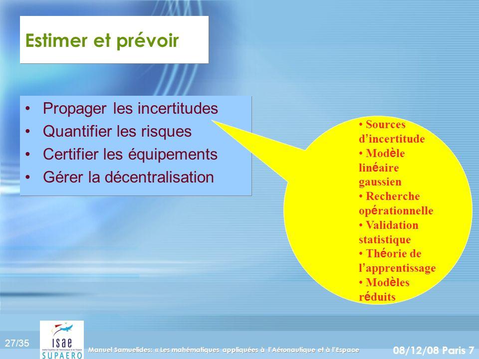 27/35 08/12/08 Paris 7 Manuel Samuelides: « Les mahématiques appliquées à lAéronautique et à lEspace Estimer et prévoir Propager les incertitudes Quan