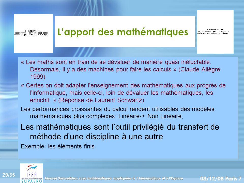 29/35 08/12/08 Paris 7 Manuel Samuelides: « Les mahématiques appliquées à lAéronautique et à lEspace Lapport des mathématiques « Les maths sont en tra