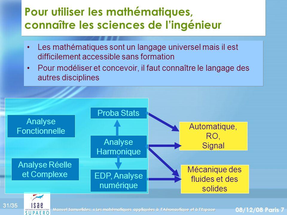 31/35 08/12/08 Paris 7 Manuel Samuelides: « Les mahématiques appliquées à lAéronautique et à lEspace Pour utiliser les mathématiques, connaître les sc