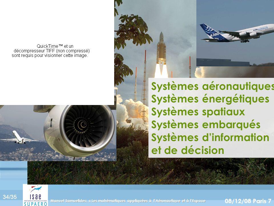 34/35 08/12/08 Paris 7 Manuel Samuelides: « Les mahématiques appliquées à lAéronautique et à lEspace Systèmes aéronautiques Systèmes énergétiques Syst