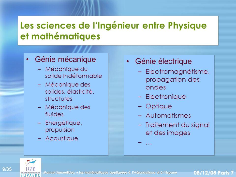9/35 08/12/08 Paris 7 Manuel Samuelides: « Les mahématiques appliquées à lAéronautique et à lEspace Les sciences de lIngénieur entre Physique et mathé
