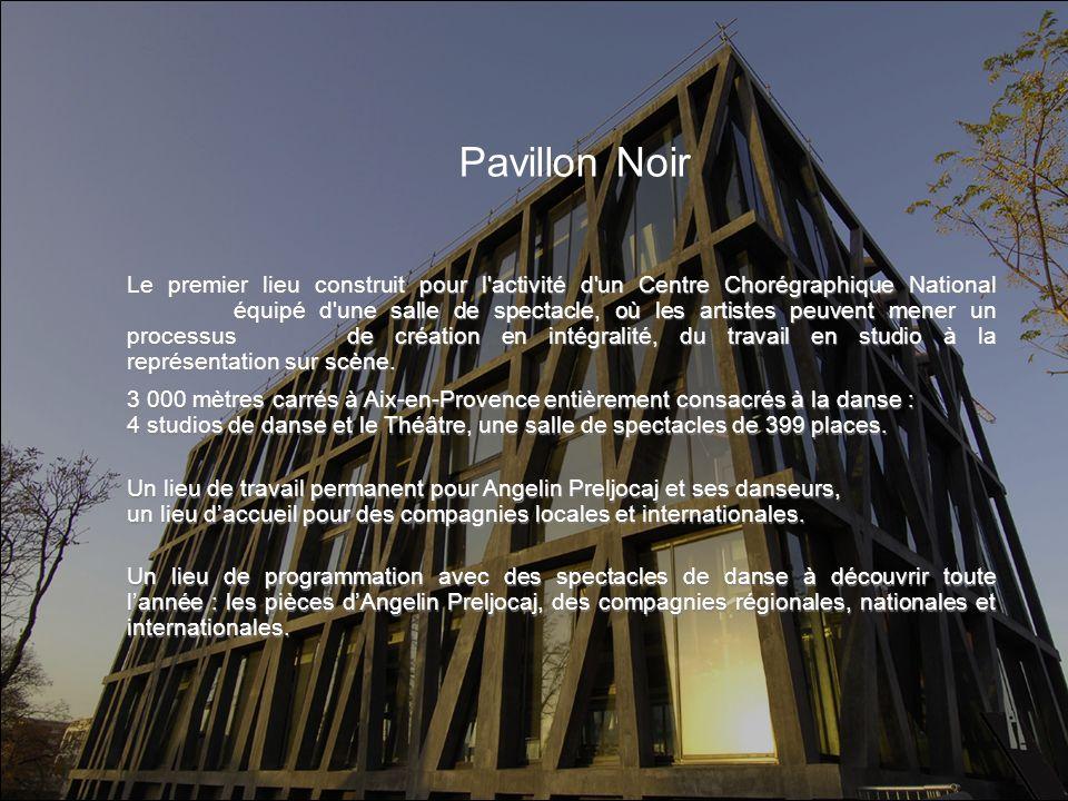 Pavillon Noir Le premier lieu construit pour l'activité d'un Centre Chorégraphique National équipé d'une salle de spectacle, où les artistes peuvent m