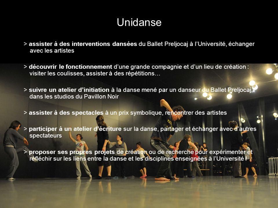Unidanse > assister à des interventions dansées du Ballet Preljocaj à lUniversité, échanger avec les artistes > découvrir le fonctionnement dune grand