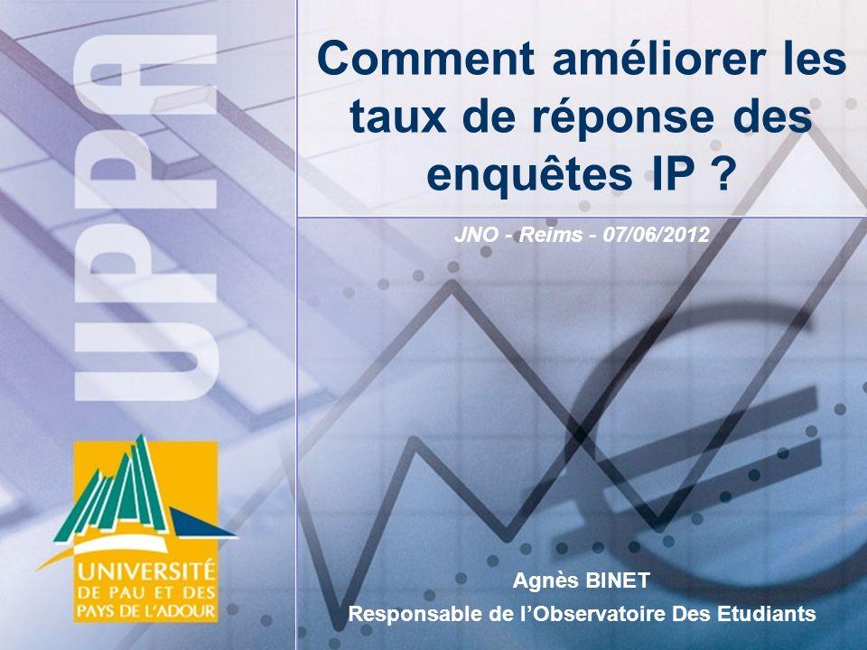 JNO - Reims - 07/06/2012 Agnès BINET Responsable de lObservatoire Des Etudiants Comment améliorer les taux de réponse des enquêtes IP