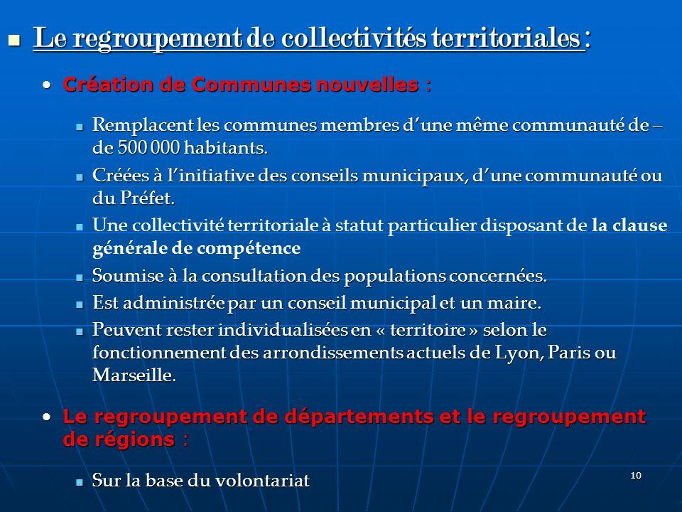 10 Le regroupement de collectivités territoriales : Le regroupement de collectivités territoriales : Création de Communes nouvelles :Création de Commu
