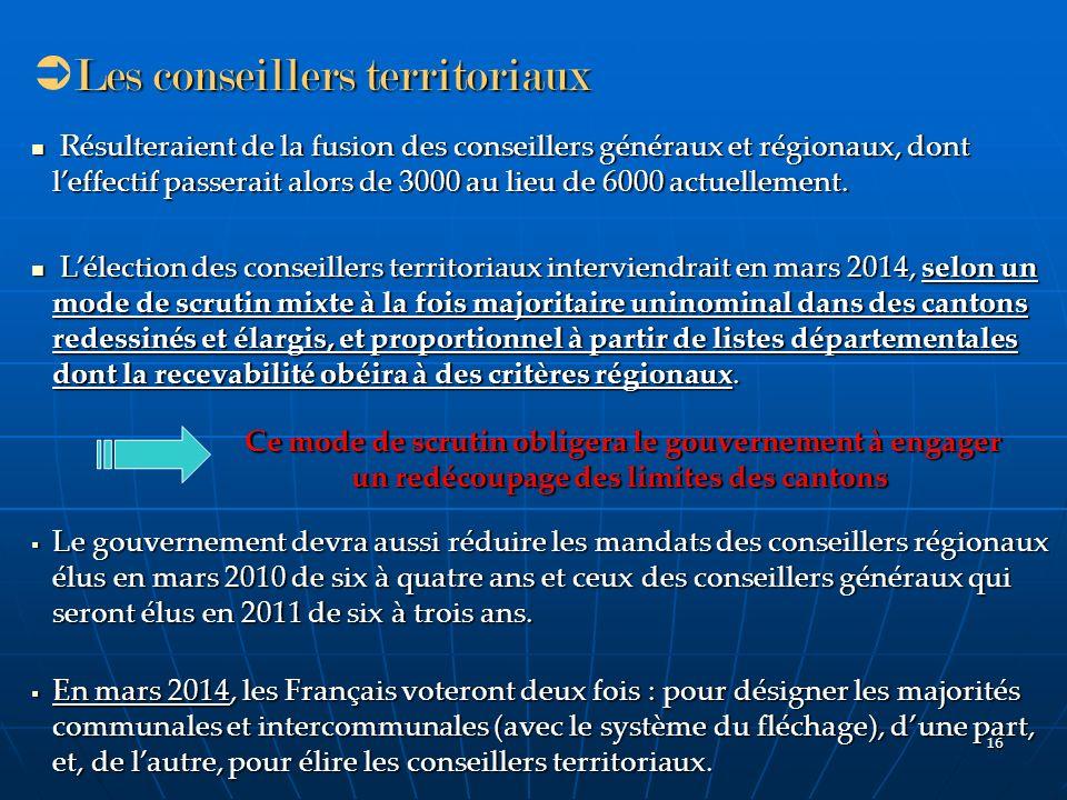 16 Les conseillers territoriaux Résulteraient de la fusion des conseillers généraux et régionaux, dont leffectif passerait alors de 3000 au lieu de 60