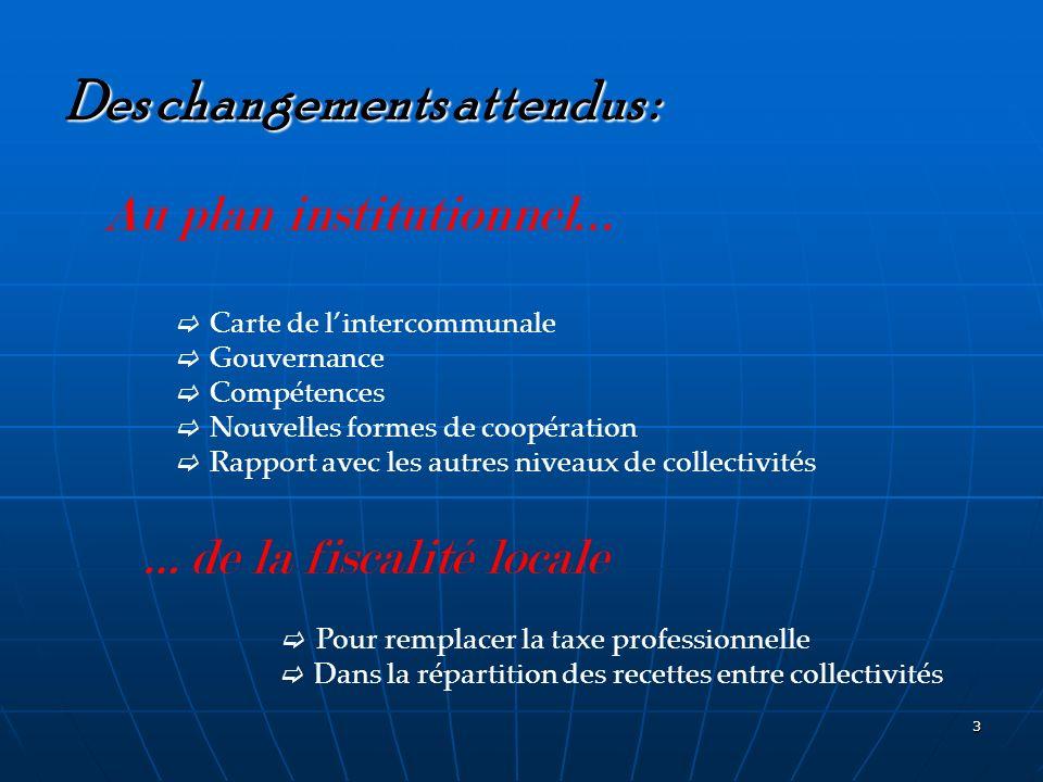 3 Des changements attendus : Au plan institutionnel … Carte de lintercommunale Gouvernance Compétences Nouvelles formes de coopération Rapport avec le
