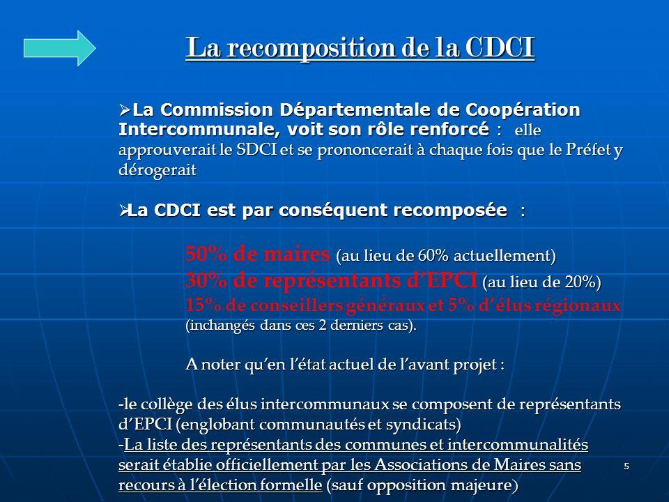 5 La recomposition de la CDCI La Commission Départementale de Coopération Intercommunale, voit son rôle renforcé : elle approuverait le SDCI et se pro