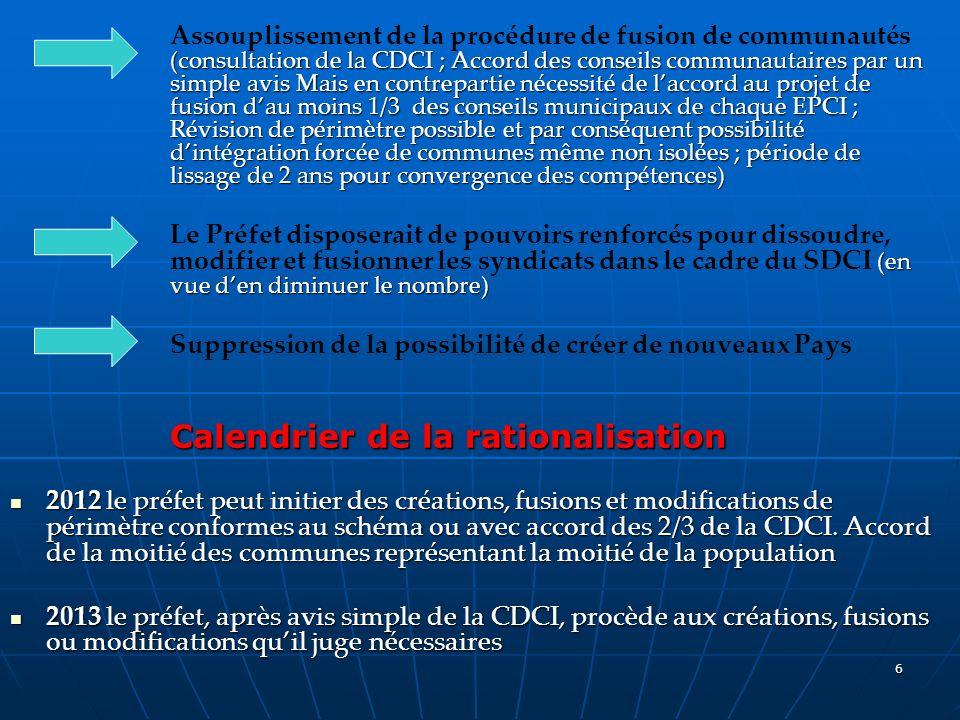 6 (consultation de la CDCI ; Accord des conseils communautaires par un simple avis Mais en contrepartie nécessité de laccord au projet de fusion dau m