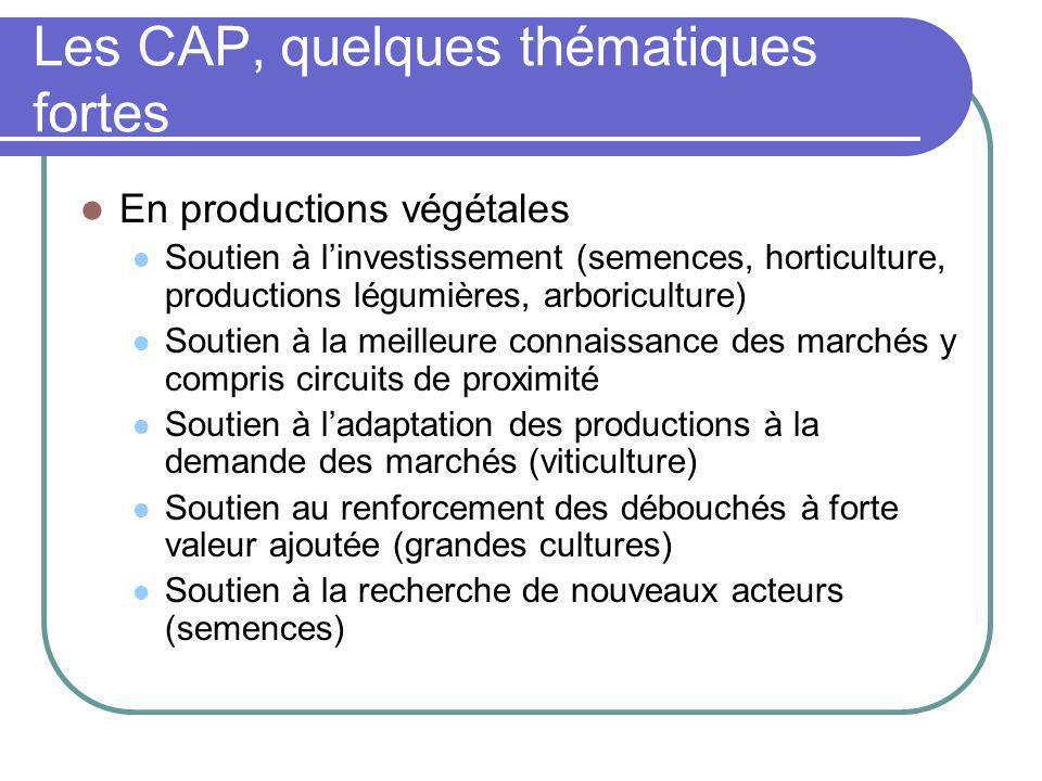 Les CAP, quelques thématiques fortes En productions végétales Soutien à linvestissement (semences, horticulture, productions légumières, arboriculture