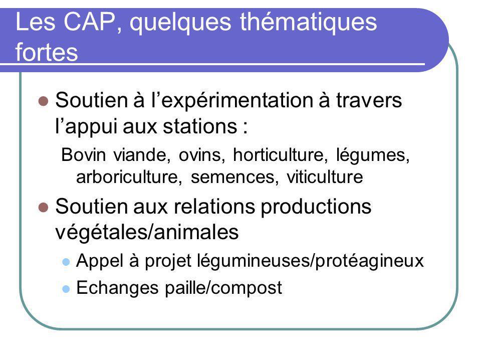 Les CAP, quelques thématiques fortes Soutien à lexpérimentation à travers lappui aux stations : Bovin viande, ovins, horticulture, légumes, arboricult