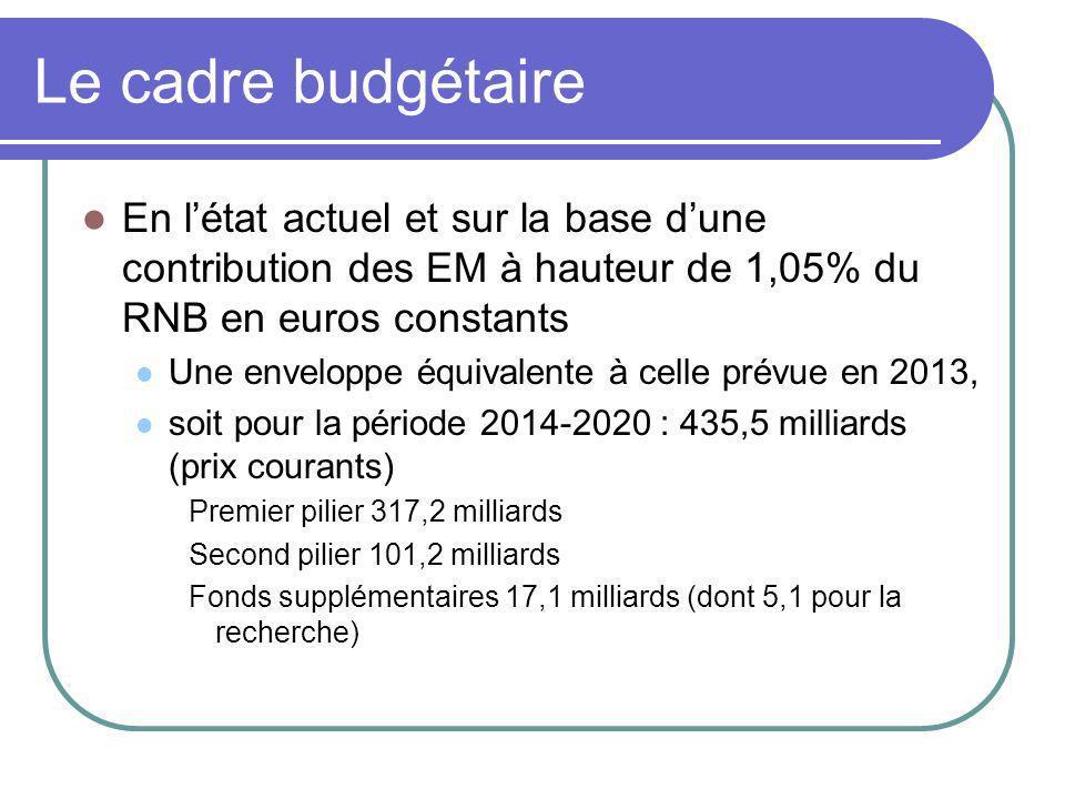Le cadre budgétaire En létat actuel et sur la base dune contribution des EM à hauteur de 1,05% du RNB en euros constants Une enveloppe équivalente à c