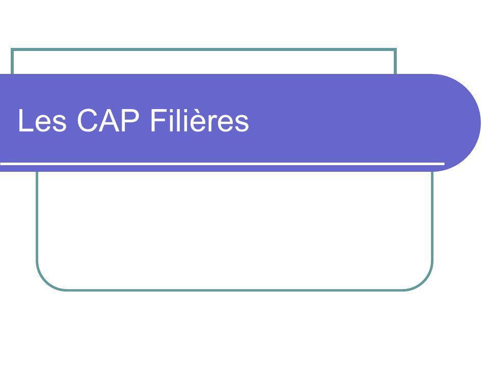 Les CAP Filières