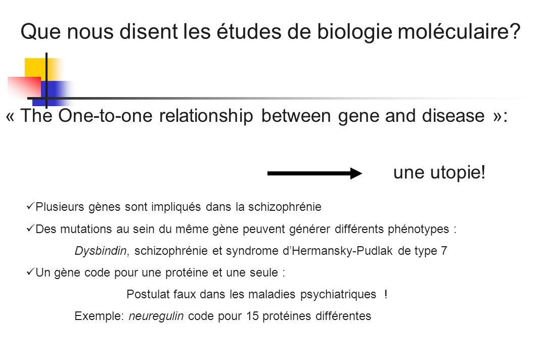 « The One-to-one relationship between gene and disease »: une utopie! Plusieurs gènes sont impliqués dans la schizophrénie Des mutations au sein du mê