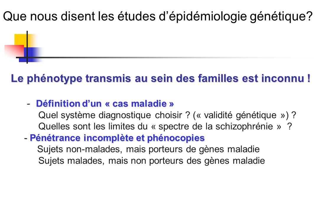 Que nous disent les études dépidémiologie génétique? Définition dun « cas maladie » - Définition dun « cas maladie » Quel système diagnostique choisir