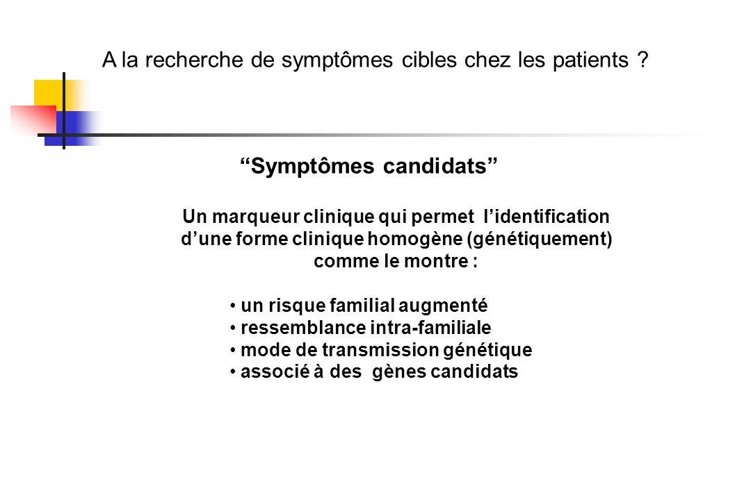A la recherche de symptômes cibles chez les patients ? Symptômes candidats Un marqueur clinique qui permet lidentification dune forme clinique homogèn