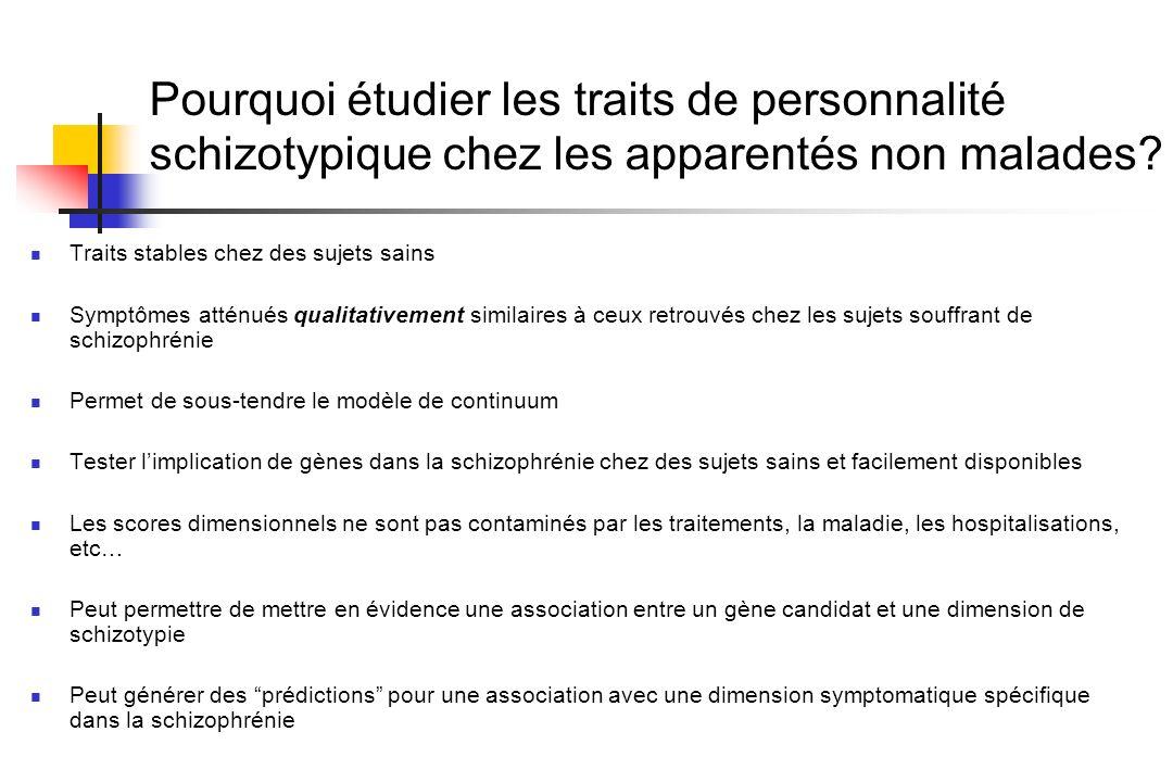 Pourquoi étudier les traits de personnalité schizotypique chez les apparentés non malades? Traits stables chez des sujets sains Symptômes atténués qua