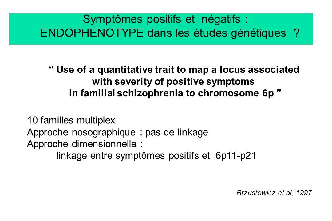 Symptômes positifs et négatifs : ENDOPHENOTYPE dans les études génétiques ? Use of a quantitative trait to map a locus associated with severity of pos
