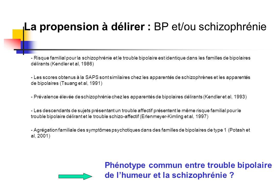 La propension à délirer : BP et/ou schizophrénie - Risque familial pour la schizophrénie et le trouble bipolaire est identique dans les familles de bi