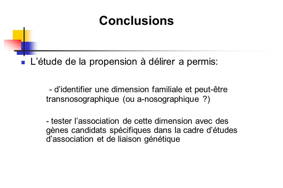 Conclusions Létude de la propension à délirer a permis: - didentifier une dimension familiale et peut-être transnosographique (ou a-nosographique ?) -