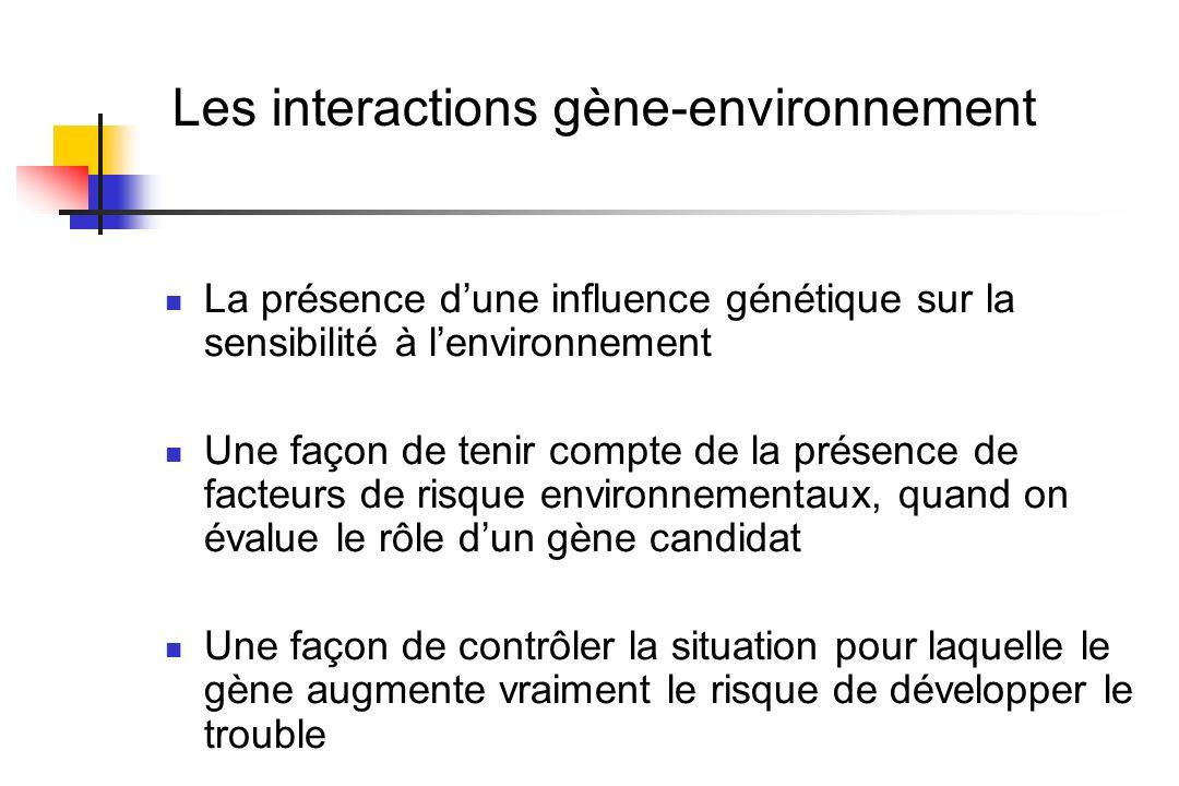 Les interactions gène-environnement La présence dune influence génétique sur la sensibilité à lenvironnement Une façon de tenir compte de la présence