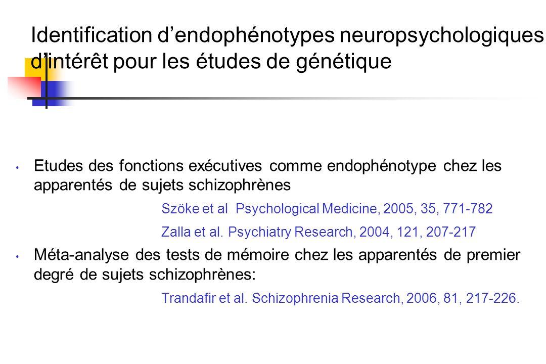 Identification dendophénotypes neuropsychologiques dintérêt pour les études de génétique Etudes des fonctions exécutives comme endophénotype chez les