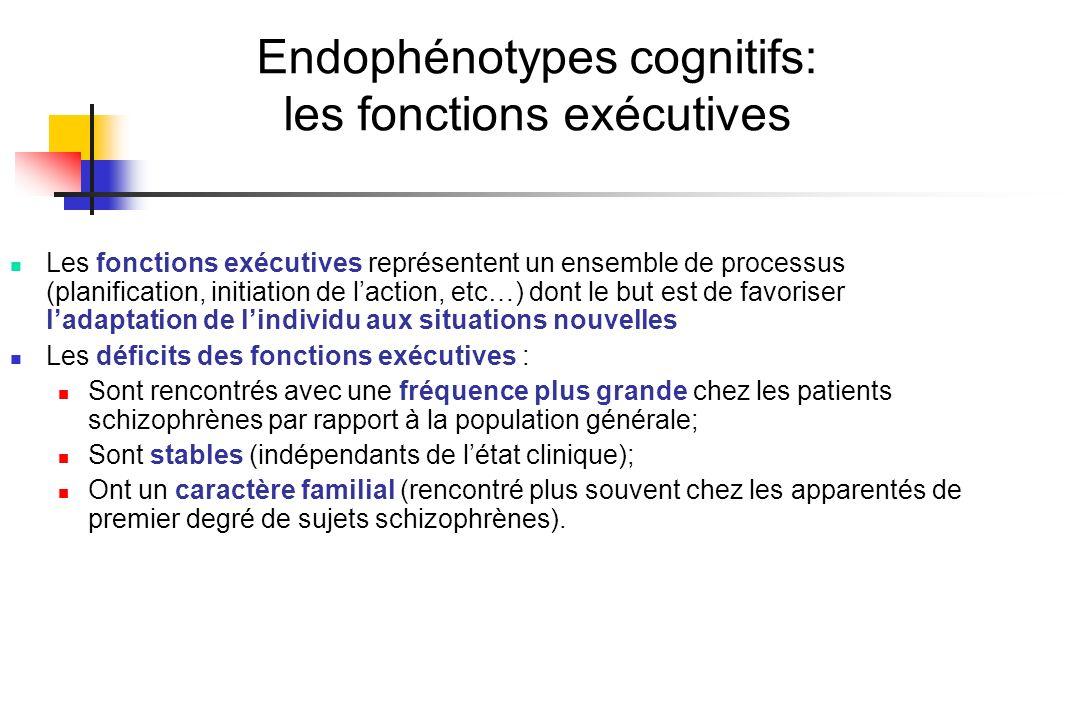 Endophénotypes cognitifs: les fonctions exécutives Les fonctions exécutives représentent un ensemble de processus (planification, initiation de lactio