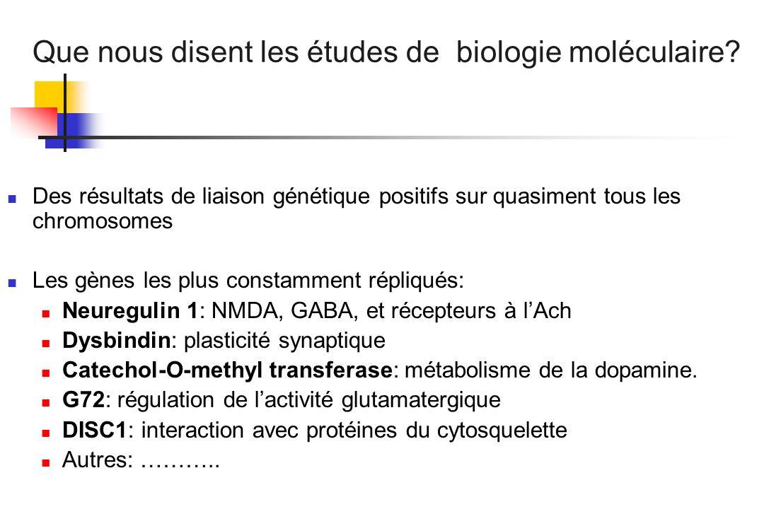 Que nous disent les études de biologie moléculaire? Des résultats de liaison génétique positifs sur quasiment tous les chromosomes Les gènes les plus