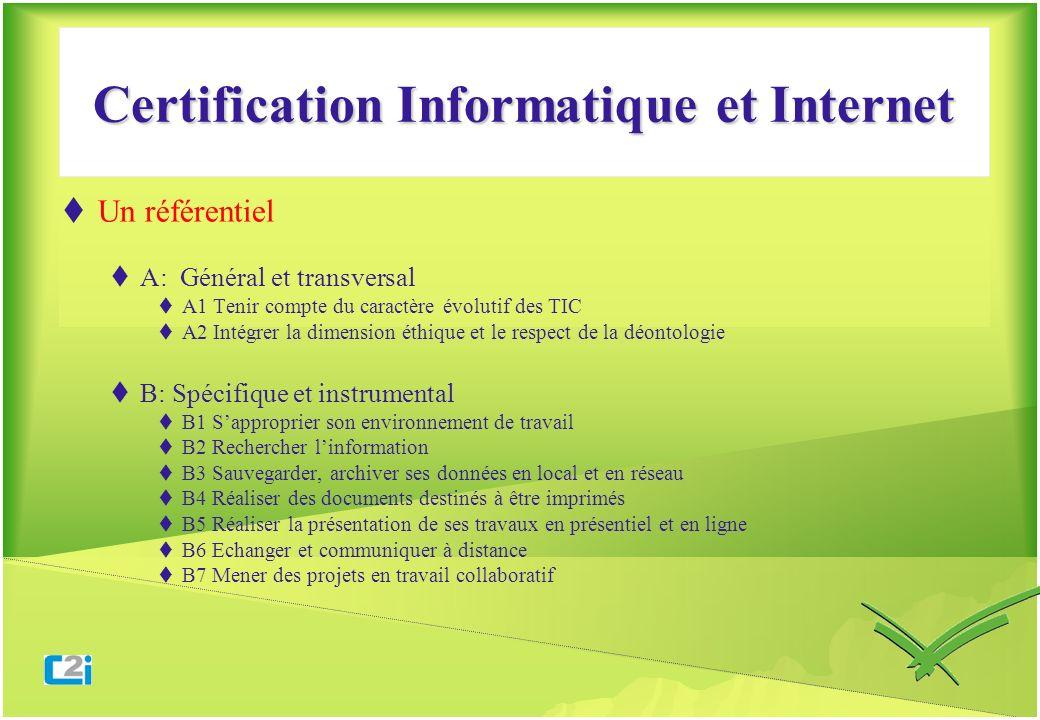 Certification Informatique et Internet Un référentiel A: Général et transversal A1 Tenir compte du caractère évolutif des TIC A2 Intégrer la dimension