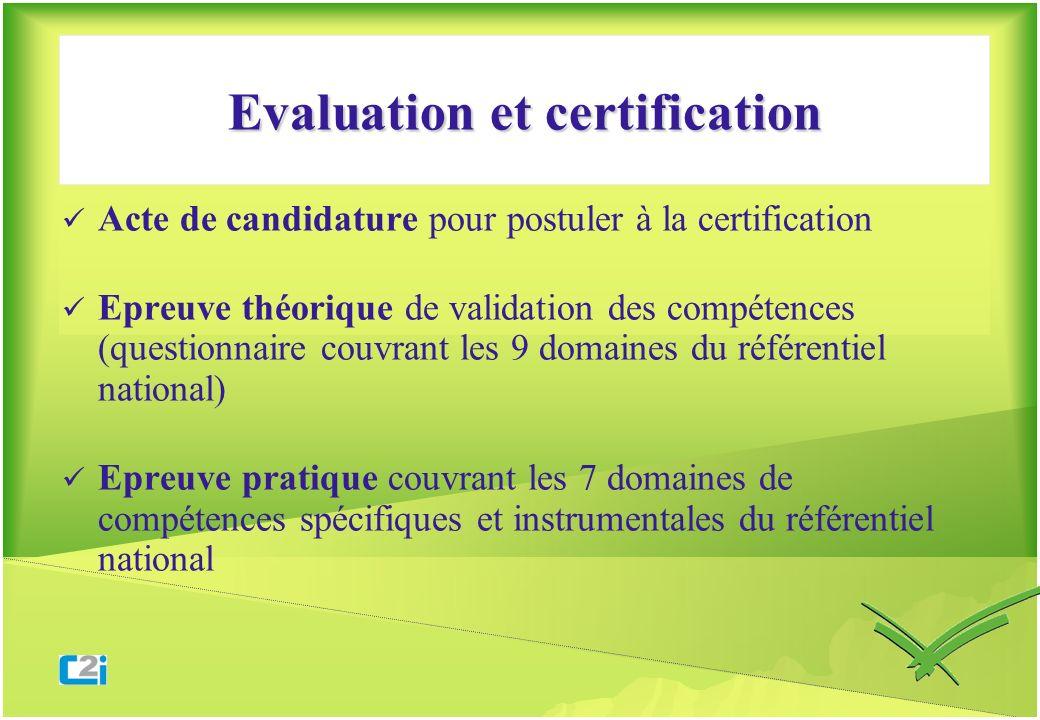 Evaluation et certification Acte de candidature pour postuler à la certification Epreuve théorique de validation des compétences (questionnaire couvra
