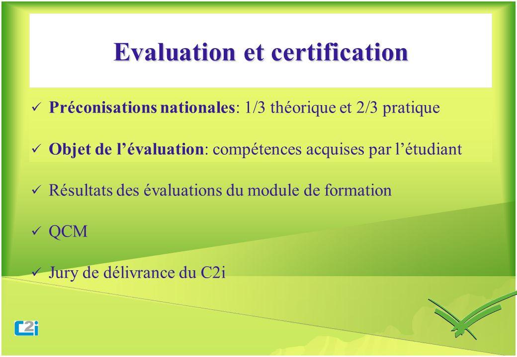Evaluation et certification Préconisations nationales: 1/3 théorique et 2/3 pratique Objet de lévaluation: compétences acquises par létudiant Résultat